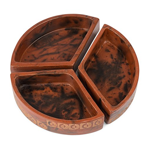 Rust Triangular Etched Clay Dishes 'Clay Three-Piece Serving Dish' by Ten Thousand Villages