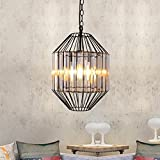 Cheap Unitary Brand Antique Crystal Cage Dining Room Metal Pendant Light with 1 E26 Bulb Socket 40W Painted Finish