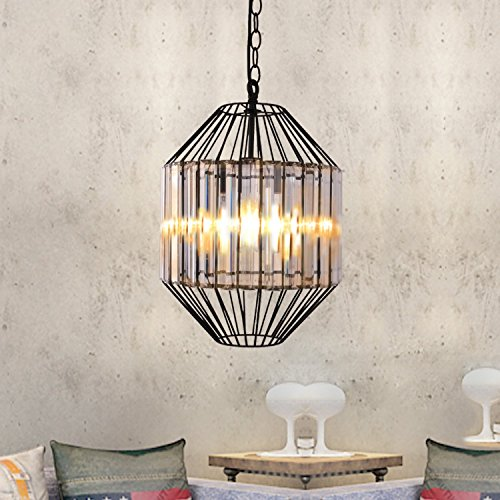 Unitary Brand Antique Crystal Cage Dining Room Metal Pendant Light with 1 E26 Bulb Socket 40W Painted Finish