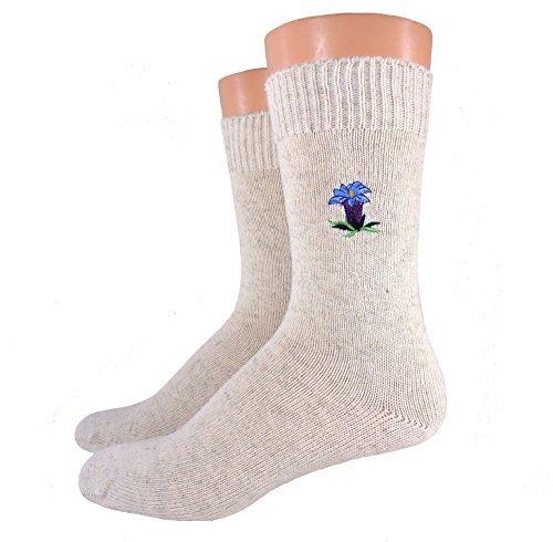 Damen/ Herren Bio Socken bestickt, Farbe:Eichenlaub;Größe:35/38
