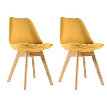 Moloo - Juego de 2 sillas Scandinaves de Comedor Tejido ...