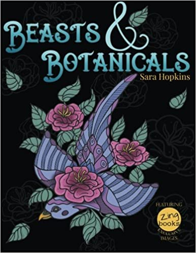 botanical nature and animal designs stress relieving coloring book for adults florals and animal coloring books for grown ups