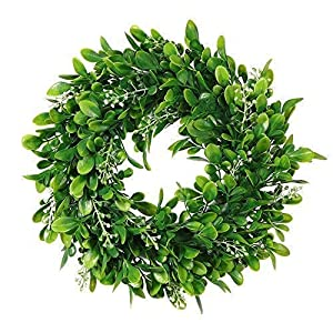 Adeeing Round Wreath Artificial Wreath Green Leaves for Door Wall Window Decoration – Wedding Party Christmas Décor – 11 Inches