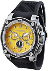 calabria solare yellow dial chronograph mens watch with carbon fiber bezel calabria stainless steel