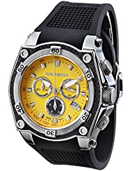 CALABRIA - SOLARE - Yellow Dial Chronograph Mens Watch with Carbon Fiber Bezel