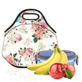 Lunch Tote, OFEILY Lunch boxes Lunch bags with Fine Neoprene Material Waterproof Picnic Lunch Bag Mom Bag (Pink flowers)