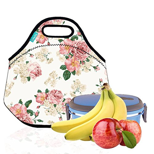 Lunch Tote, OFEILY Lunch boxes Lunch bags with Fine Neoprene Material Waterproof Picnic Lunch Bag Mom Bag (Pink flowers) by Ofeily