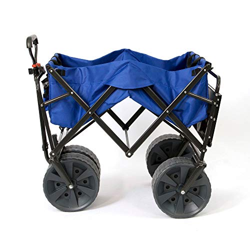 Best Mac Sports Heavy Duty Collapsible Folding All Terrain Utility Wagon Beach Cart with Table - Blue