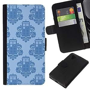 YiPhone /// Tirón de la caja Cartera de cuero con ranuras para tarjetas - Teléfono rococó stand Patrón Quién - LG Nexus 5 D820 D821