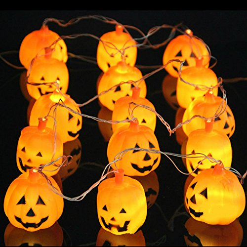 10.8 Ft 16 Led Halloween Party Pumpkin String Lights Hanging Decorations Home Indoor Outdoor (Warm (Skull Sock Mask)