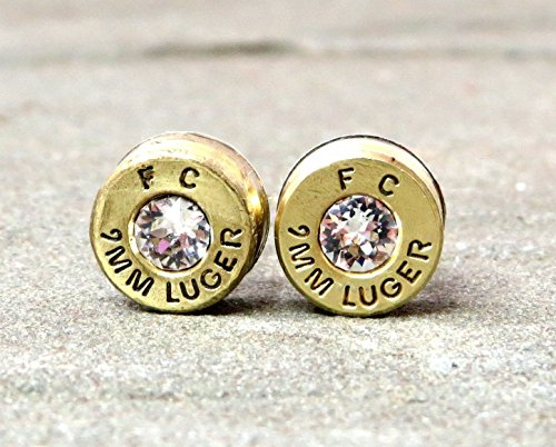 9MM Luger Federal Bullet Shell Casing Stud Earrings in Clear Swarovski Diamond