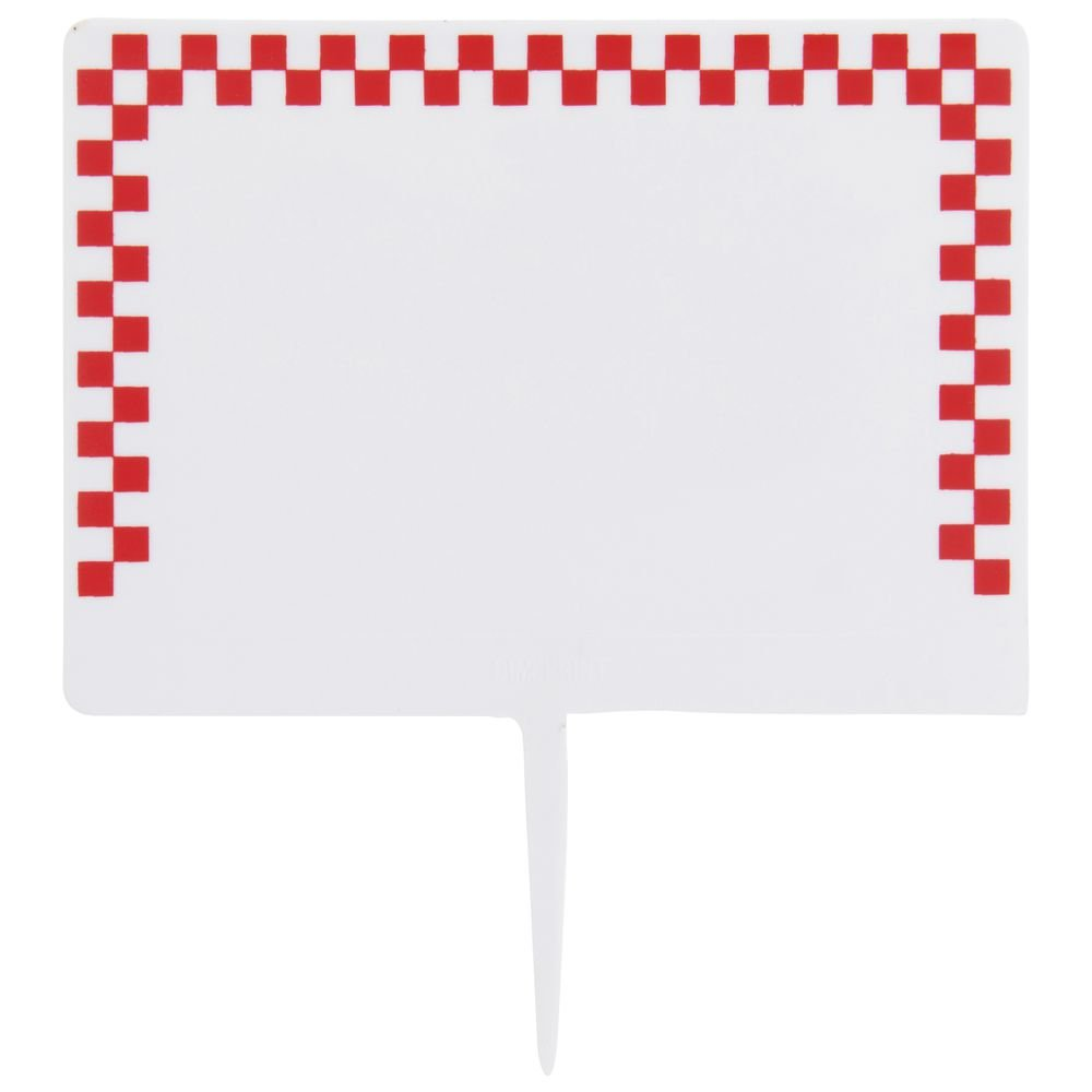 Deli Spear Tags with Red Check Border White Plastic - 2 1/2''H x 3 1/2''L