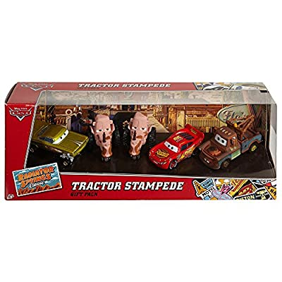 Disney/Pixar Cars, Radiator Springs Classic, Tractor Stampede Die-Cast Vehicle Gift Pack [Lightning McQueen, Mater, Yellow Hydraulic Ramone, and 2 Tractors]: Toys & Games