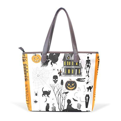 Bag Bags Cm Cuoio Coosun M Shoulder Maniglia Di Città Pu Tote 40x29x9 Muticolour Halloween Grandi OFwnwHvZq