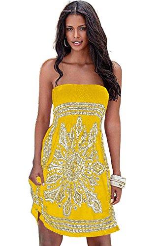 para Landove Boho Color Playa Mujer 33 Casual Baño de Chic Hombro De Cóctel Tirantes Pareos Playa Fiesta Verano Vestido Vestido Trajes Sin de wwCxvrqSp