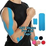 CFR Pro Sport Tapges Elastic Pre-cut X & Y Shape Medical Grade Muscle Bandage Elbow Arm Shoulder Support Straps Injuries Recovery Water Resistant Pain Relief Tap for Athletes Sky Blue,10 Pcs