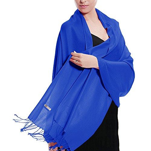 Pashmina Wedding Large Soft Plain Shawl/Wrap/Scarf for Women (Royal Blue)