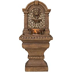 "Royal Lions-Head 51"" High LED Floor Fountain"
