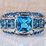 2.1ct Women 925 Silver Blue Topaz Gemstone Size 6-10 Wedding Bridal Engagement (6)