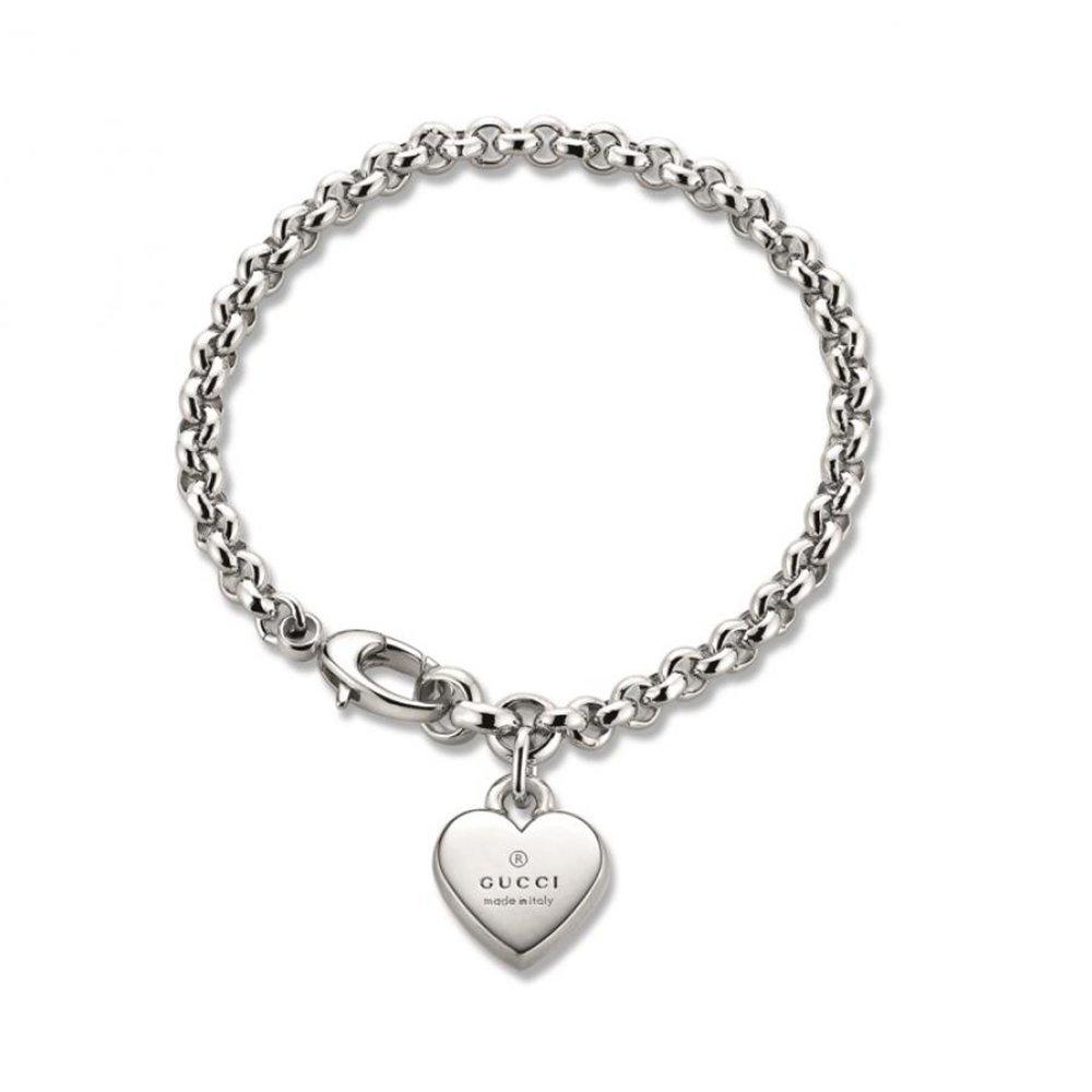 Gucci Women's Trademark Bracelet w/ Heart Charm Silver Bracelet by Gucci (Image #1)