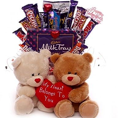 Valentine S Teddies And Chocolate Bouquet Valentine Teddy And