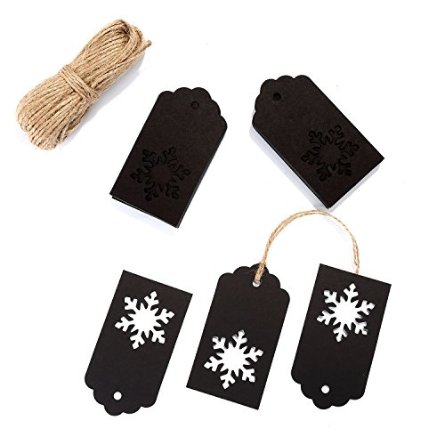 Whale 100 Pack Paper Tags Kraft Gift Tags Snowflake Shape Hang Labels with 30 Meters Twine for DIY Arts and Crafts, Wedding Christmas Thanksgiving and Holiday