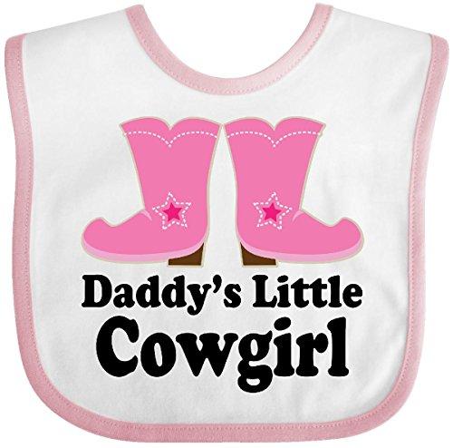 Inktastic - Daddy's Little Cowgirl Baby Bib White/Pink