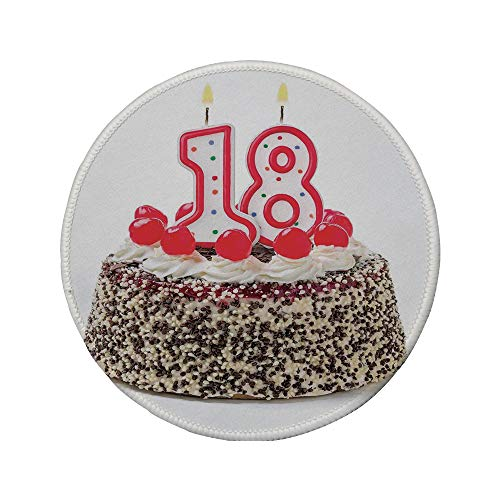 Non-Slip Rubber Round Mouse Pad,18th Birthday Decoration,Sweet Eighteen Party Cake with Candles and Cherries Sprinkle Photo,Multicolor,7.87