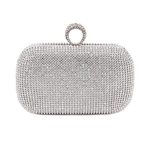 Handbags Bag Clutch ULKpiaoliang Wedding Bags Studded Wallets Women's Evening silver Party Bag Chain Diamond Evening Bag Shoulder SqRYCUn