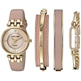 Anne Klein Women's AK/2684LPST Diamond-Accented Gold-Tone and Pink Leather Strap Watch and Bangle Set