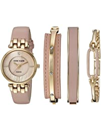 Women's AK/2684LPST Diamond-Accented Gold-Tone and Pink Leather Strap Watch and Bangle Set