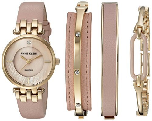 Anne Klein Women's AK/2684LPST Diamond-Accented Gold-Tone and Pink Leather Strap Watch and Bangle Set (Diamond Buckle Bangle)