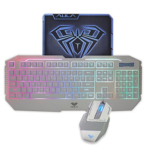 AULA Rainbow LED Backlit Gaming Keyboard & Mouse Combo with Pro-Gaming Mousepad Included (White Color)