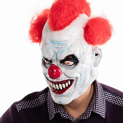 Holoween Masks (Ashanglife Evil Circus Clown Mask Pennywise Halloween Horror Party Fancy Dress Costume Accessory)
