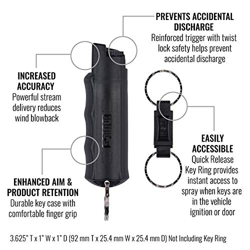 SABRE-RED-Pepper-Spray-Keychain-with-Quick-Release-for-Easy-Access--Max-Police-Strength-OC-Spray-Finger-Grip-for-Accurate-Aim-10-Foot-3M-Range-25-Bursts-5x-Other-Brands--Practice-Spray-Option
