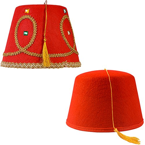 Tigerdoe Fez Hat – 2 Pack - Red Fez Hat with Gold Tassel - Turkish Hat - Moroccan Hat – Shriner Hat