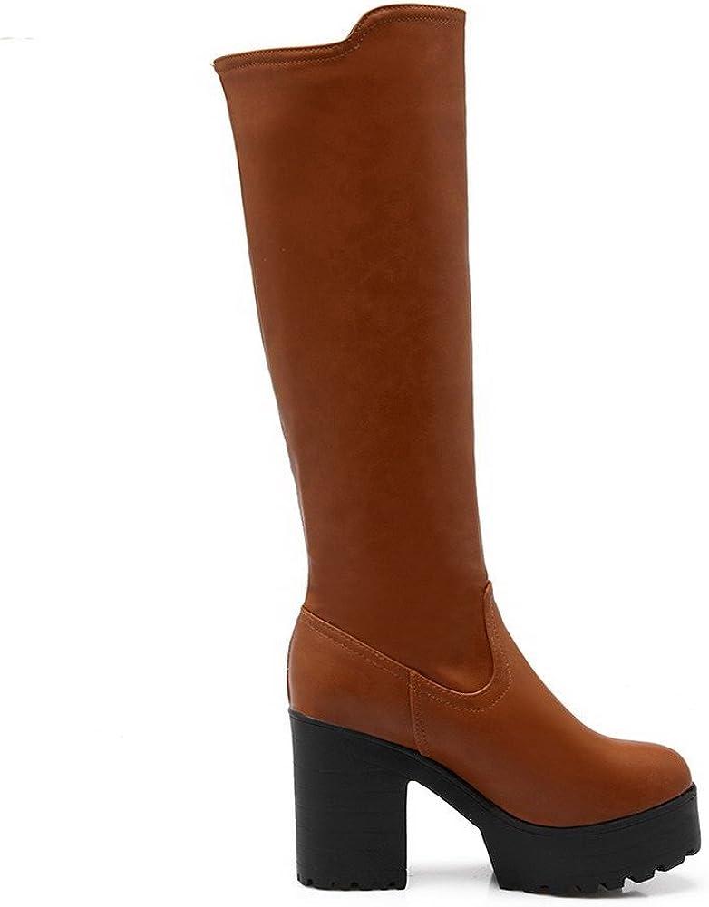 AmoonyFashion Womens Round Closed Toe PU Pull-on High-Heels Knee-high Boots