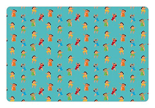 Ambesonne Island Party Pet Mat for Food and Water, Hula Dancers Hawaiian Woman Exotic Summer Town Culture Girls Hippie Life Print, Rectangle Non-Slip Rubber Mat for Dogs and Cats, Multicolor ()