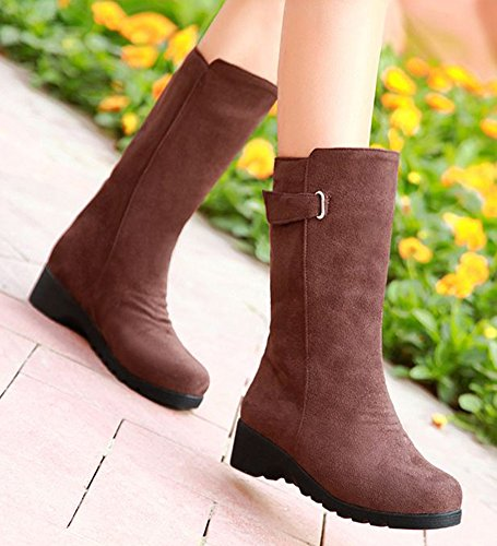Aisun Womens Comfy Belt Buckle Flat Mid Calf Boots Brown KxPI4fAA