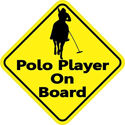 (StickerTalk 5in x 5in Polo Player On Board Magnet Car Truck Vehicle Magnetic Sign )