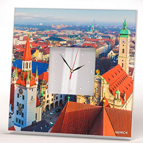 Munich City Bavaria Skyline Downtown View Wall Clock Framed Mirror Printed Decor Home Design Gift