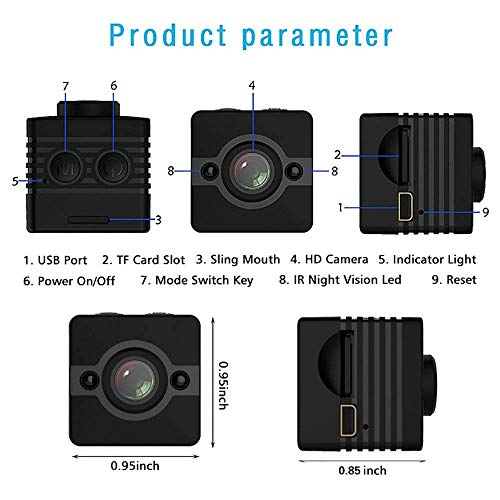 TinyEye Mini Spy Camera Hidden Camera with Full 1080p HD Camera and Ultra Wide-Angle Lens (155°) Nanny Cam with Motion Detection and Night Vision Mode. (Includes: 16GB SD Card + Mounting Accessories)