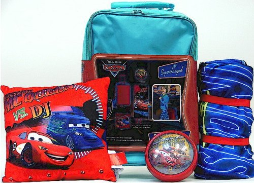Cars Disney Turquoise Rolling Slumber Set - Sleeping Bag, Push Light, Pillow & Trolley ()