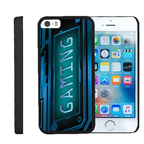 TurtleArmor | Compatible for Apple iPhone SE Case | iPhone 5/5s Case [Slim Duo] Matte Hard Protector Slim Shell Compact Clip On Cover on Black Video Games Design - Gaming Cyber