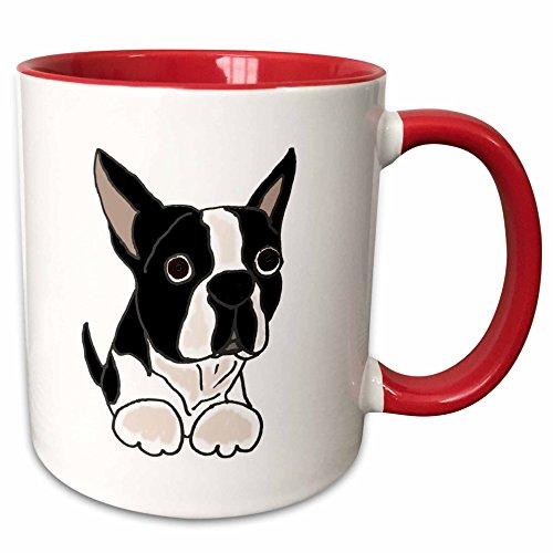 3dRose mug_216347_5 Cute Boston Terrier Puppy Dog Original - Two Tone Red Mug, 11oz ()