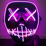 Jlong Halloween Mask Scary Light up LED Frightening Wire Mask Party Cosplay Costume