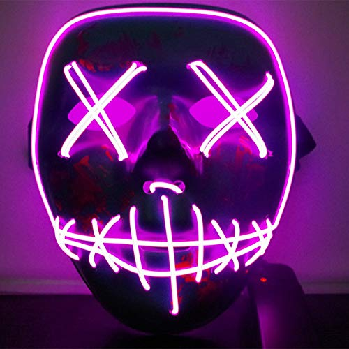 Jlong Halloween Mask Scary Light up LED Frightening Wire Mask Party Cosplay Costume by Jlong