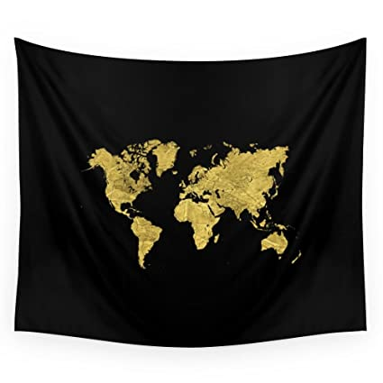 Amazoncom Society Gold Black World Map Wall Tapestry Small X - Black and gold world map