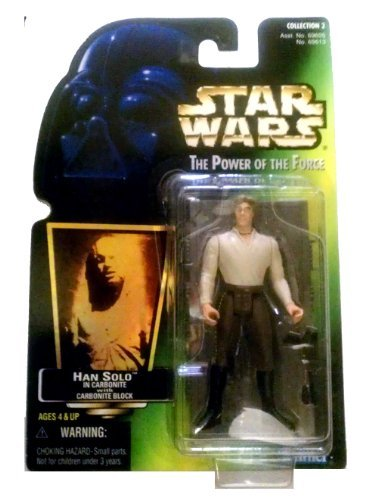 Star Wars 1997 Power of the Force POTF - HAN SOLO IN CARBONITE WITH CARBONITE BLOCK GREEN CARD Collection - Kenner Shopping In La
