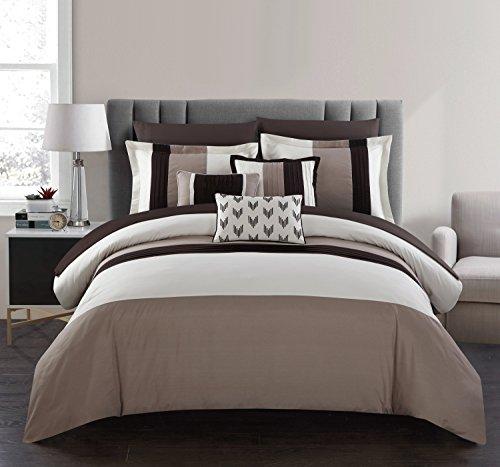 Chic Home Eyelet 10 Piece Comforter Set Color Block Ruffled Bag Bedding-Decorative Pillows Shams Included, Queen Beige (Beige Set Comforter)